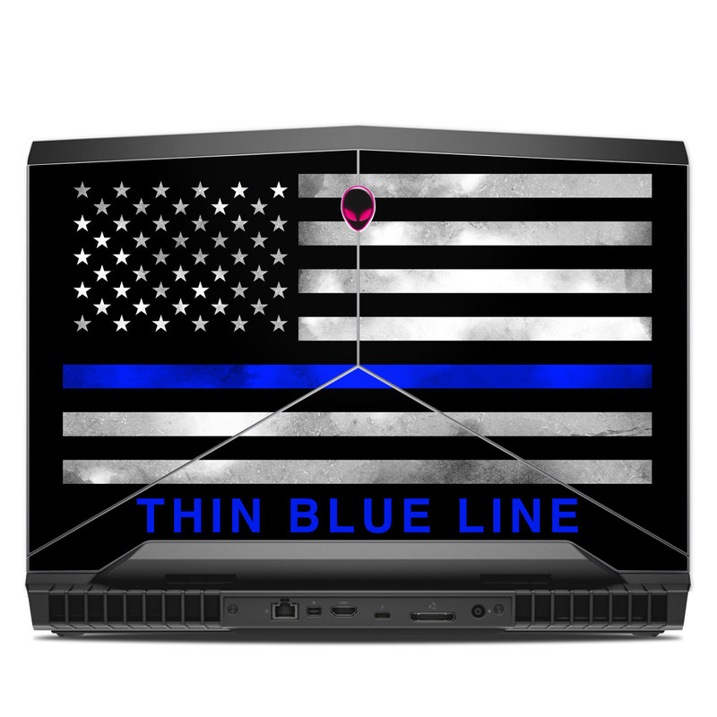 Alienware 17 R4 Skin design of Line, Flag, Text, Flag of the united states, Font, Parallel, Symmetry, Black-and-white, Pattern, Graphics with black, white, gray, blue colors