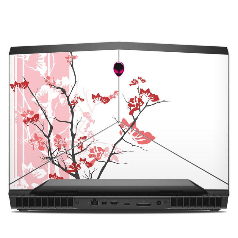 Alienware 17 R4 Skin design of Branch, Red, Flower, Plant, Tree, Twig, Blossom, Botany, Pink, Spring with white, pink, gray, red, black colors