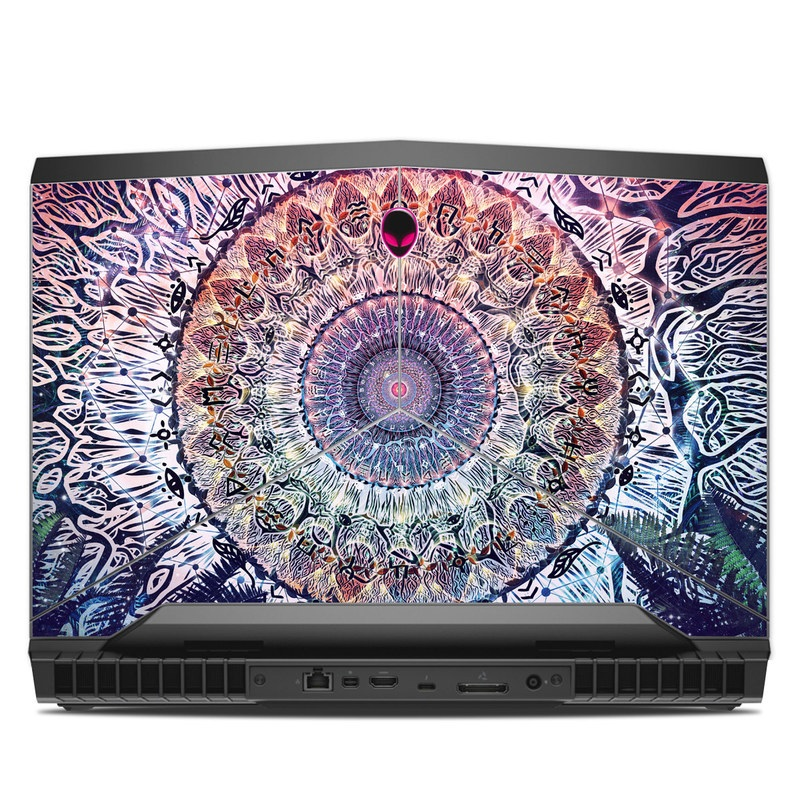 Alienware 17 R4 Skin design of Tapestry, Pattern, Art, Close-up, Circle, Fractal art, Textile, Eye, Design, Kaleidoscope with blue, red, yellow, purple, green colors
