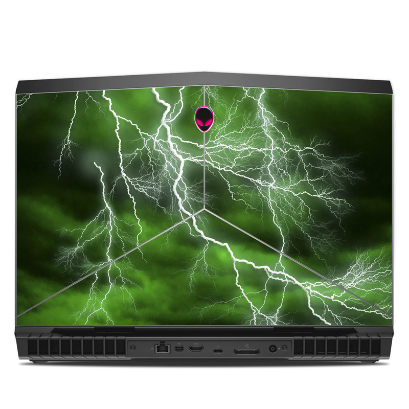 Alienware 17 R5 Skin design of Thunderstorm, Thunder, Lightning, Nature, Green, Water, Sky, Atmosphere, Atmospheric phenomenon, Daytime with green, black, white colors