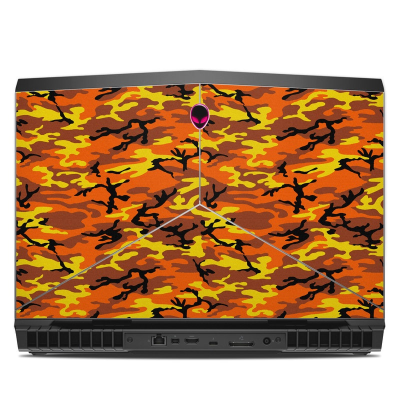 Alienware 17 R5 Skin design of Military camouflage, Orange, Pattern, Camouflage, Yellow, Brown, Uniform, Design, Tree, Wildlife with red, green, black colors