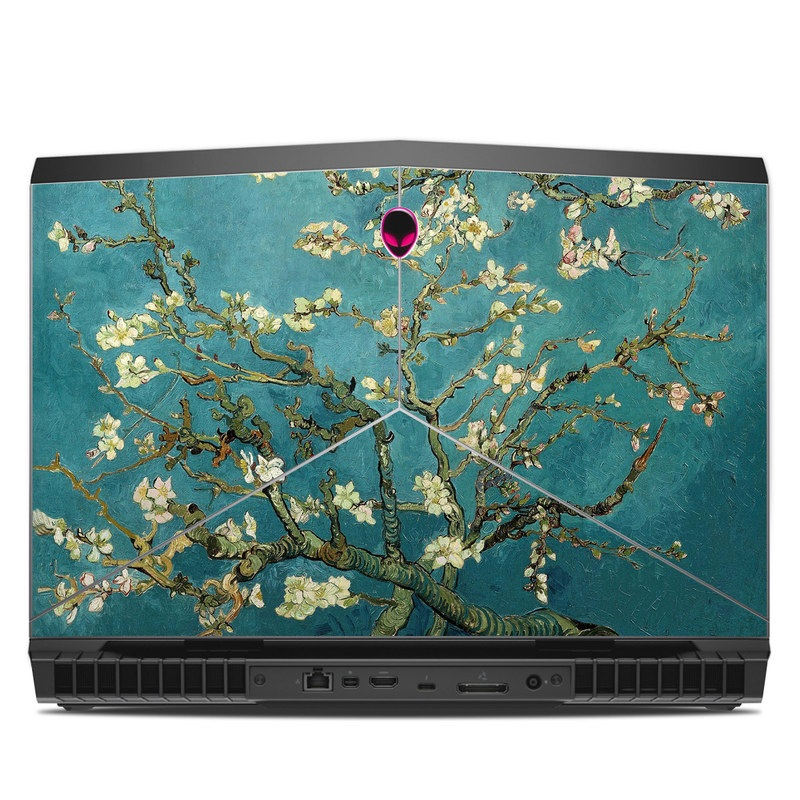 Alienware 17 R5 Skin design of Tree, Branch, Plant, Flower, Blossom, Spring, Woody plant, Perennial plant with blue, black, gray, green colors