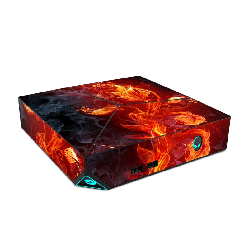Alienware Steam Machine Skin design of Flame, Fire, Heat, Red, Orange, Fractal art, Graphic design, Geological phenomenon, Design, Organism with black, red, orange colors
