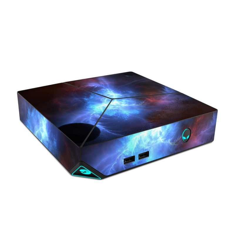 Alienware Steam Machine Skin design of Sky, Atmosphere, Outer space, Space, Astronomical object, Fractal art, Universe, Electric blue, Art, Organism with black, blue, purple colors