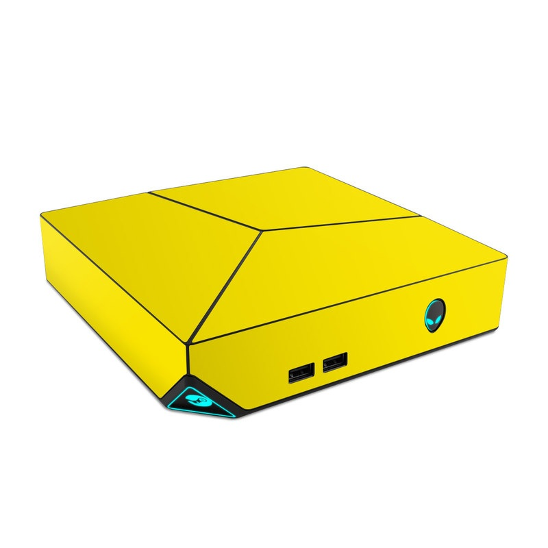 Alienware Steam Machine Skin design of Green, Yellow, Orange, Text, Font with yellow colors