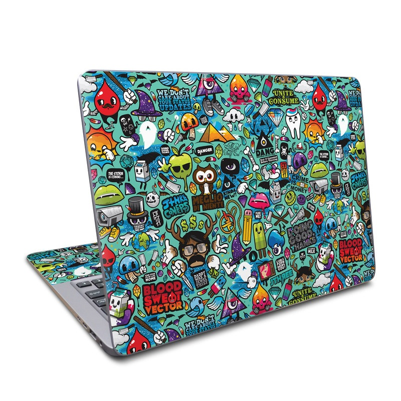 Asus ZenBook UX330UA Skin design of Cartoon, Art, Pattern, Design, Illustration, Visual arts, Doodle, Psychedelic art with black, blue, gray, red, green colors