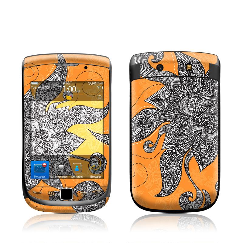 Orange Flowers BlackBerry Torch 9800 Skin