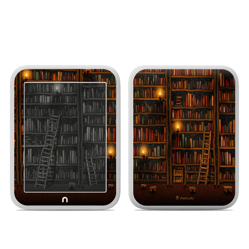 Barnes & Noble NOOK GlowLight Skin design of Shelving, Library, Bookcase, Shelf, Furniture, Book, Building, Publication, Room, Darkness with black, red colors