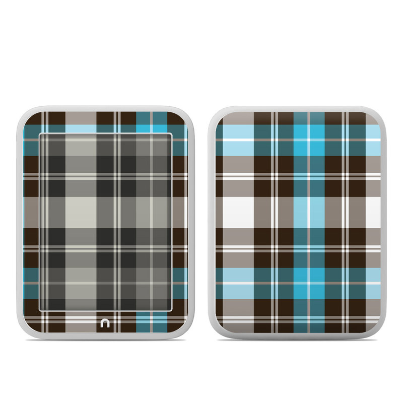 Barnes & Noble NOOK GlowLight Skin design of Plaid, Pattern, Tartan, Turquoise, Textile, Design, Brown, Line, Tints and shades with gray, black, blue, white colors
