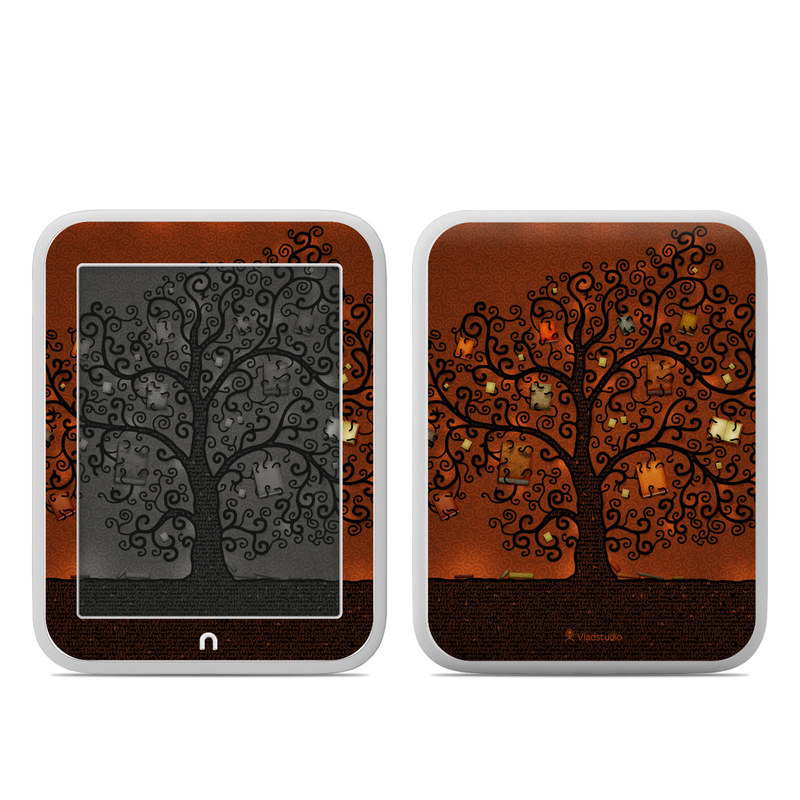 Barnes & Noble NOOK GlowLight Skin design of Tree, Brown, Leaf, Plant, Woody plant, Branch, Visual arts, Font, Pattern, Art with black colors