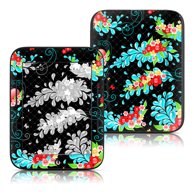 Barnes & Noble NOOK Simple Touch Skin design of Pattern, Visual arts, Illustration, Design, Floral design, Art, Graphic design, Plant, Wildflower, Flower with black, blue, pink, red, green colors