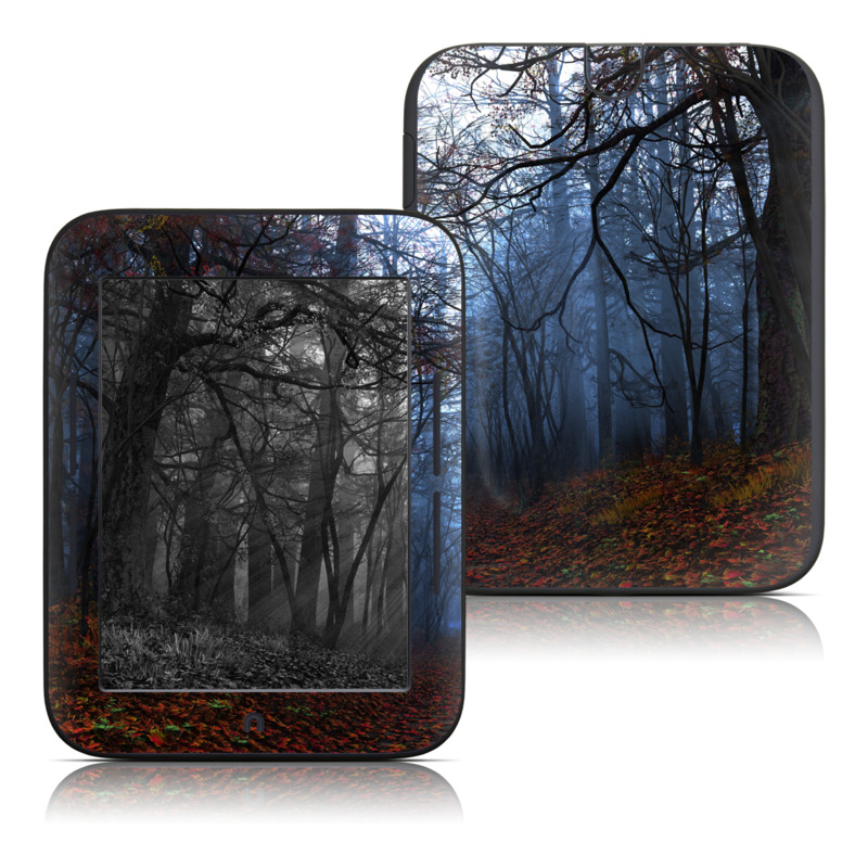 Barnes & Noble NOOK Simple Touch Skin design of Natural landscape, Nature, Tree, Forest, Woodland, Natural environment, Atmospheric phenomenon, Sky, Fog, Branch with black, blue, gray colors