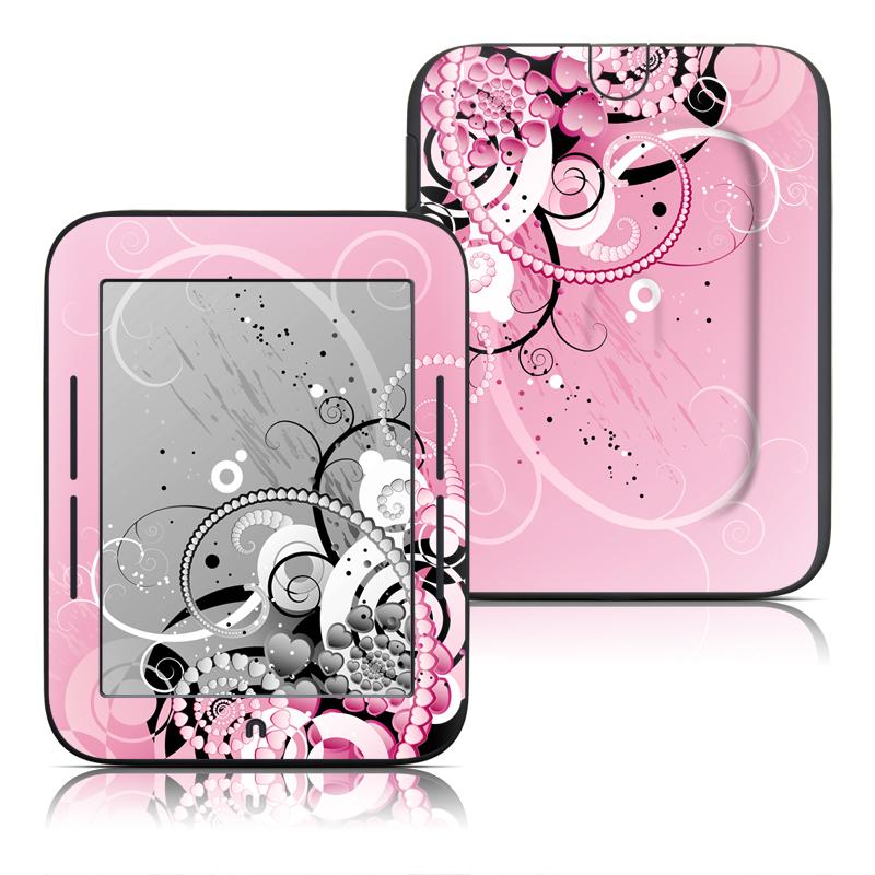 Barnes & Noble NOOK Simple Touch Skin design of Pink, Floral design, Graphic design, Text, Design, Flower Arranging, Pattern, Illustration, Flower, Floristry with pink, gray, black, white, purple, red colors