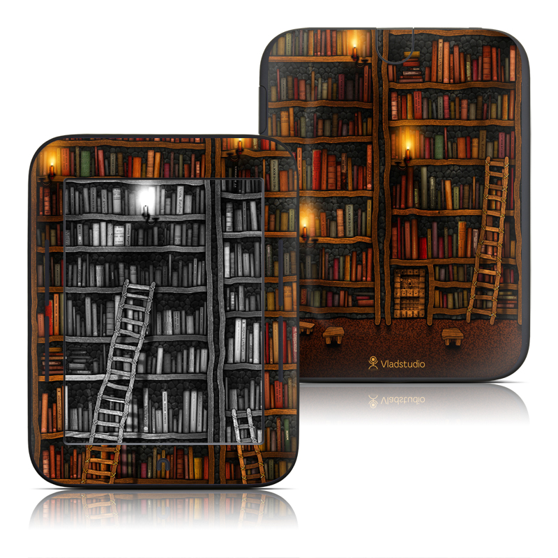 Barnes & Noble NOOK Simple Touch Skin design of Shelving, Library, Bookcase, Shelf, Furniture, Book, Building, Publication, Room, Darkness with black, red colors