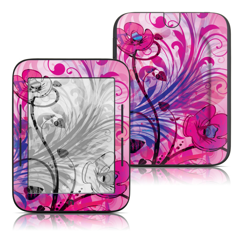 Barnes & Noble NOOK Simple Touch Skin design of Pink, Purple, Pattern, Violet, Magenta, Graphic design, Floral design, Design, Art, Visual arts with white, gray, red, green, black, pink colors