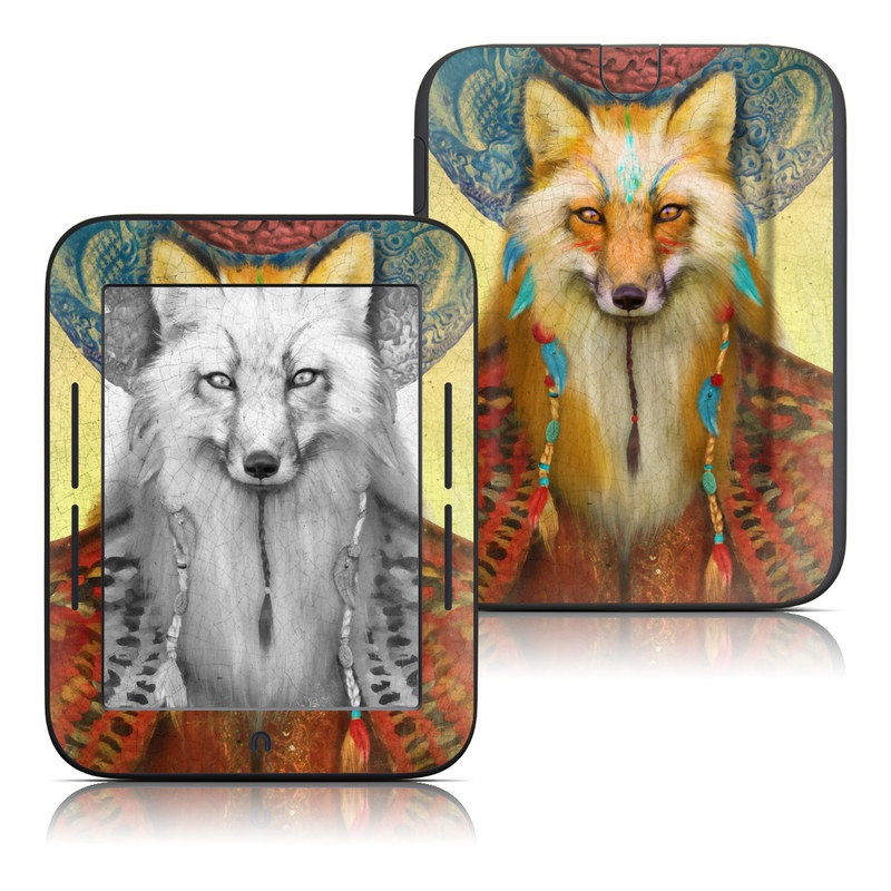 Barnes & Noble NOOK Simple Touch Skin design of Red fox, Canidae, Fox, Wildlife, Swift fox, Carnivore, Jackal, Fur, Snout, Art with red, black, gray, green, blue colors