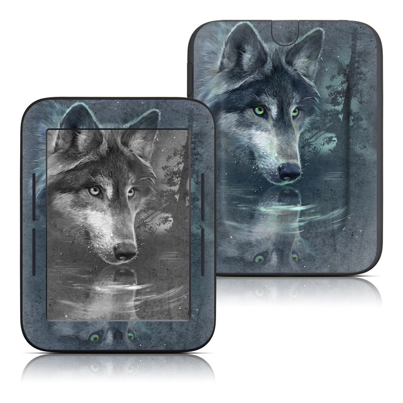 Barnes & Noble NOOK Simple Touch Skin design of Wolf, Canidae, Wildlife, Red wolf, Canis, canis lupus tundrarum, Snout, Saarloos wolfdog, Wolfdog, Carnivore with black, gray, blue colors
