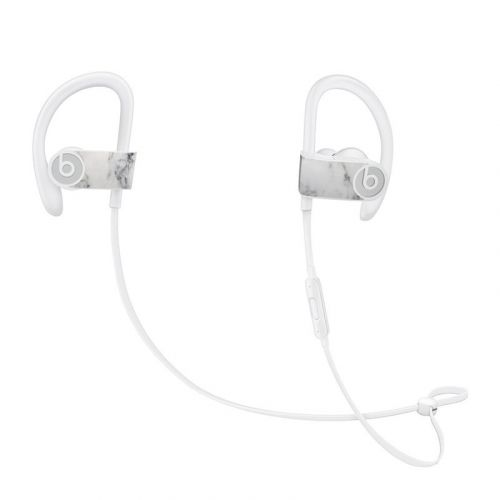 White Marble Beats Powerbeats3 Skin