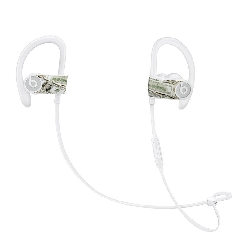 Beats Powerbeats3 Skin design of Money, Cash, Currency, Banknote, Dollar, Saving, Money handling, Paper, Stock photography, Paper product with green, white, black, gray colors