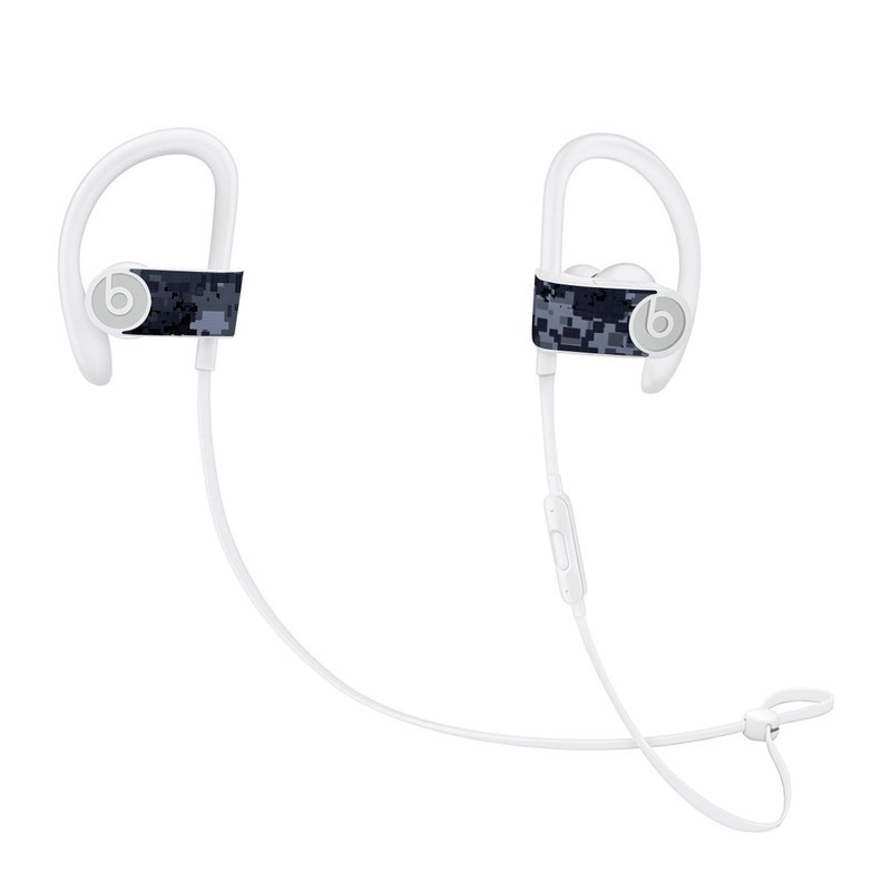 Beats Powerbeats3 Skin design of Military camouflage, Black, Pattern, Blue, Camouflage, Design, Uniform, Textile, Black-and-white, Space with black, gray, blue colors