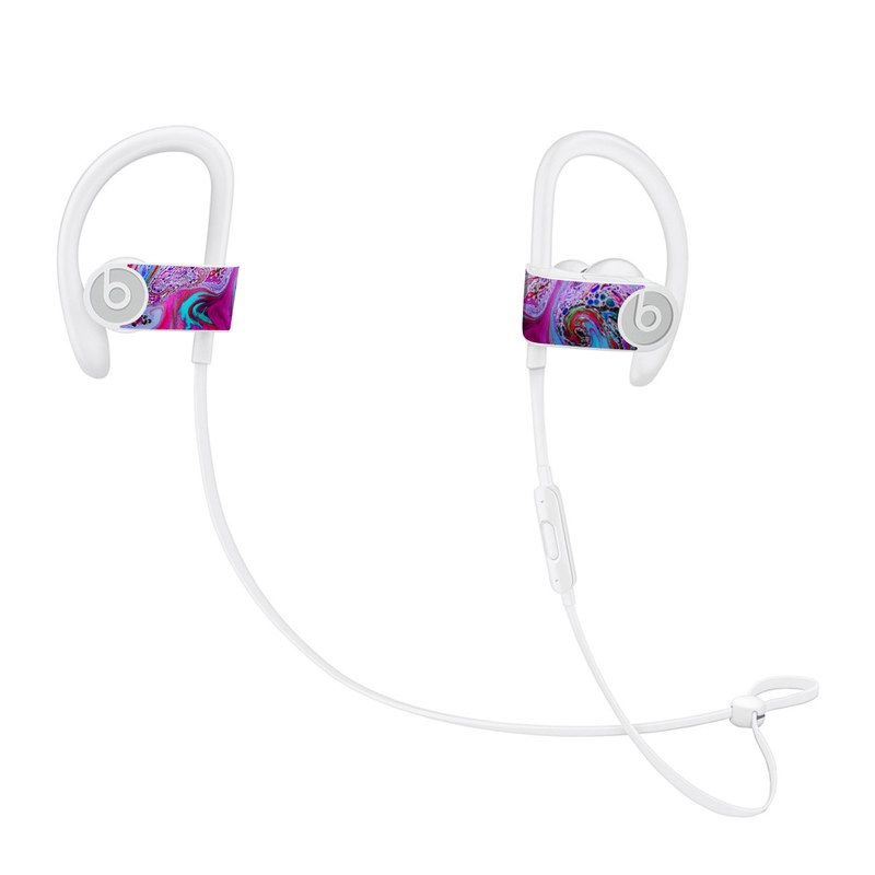 Beats Powerbeats3 Skin design of Pink, Purple, Pattern, Design, Visual arts, Art, Psychedelic art, Magenta, Acrylic paint, Colorfulness with pink, purple, blue, green colors