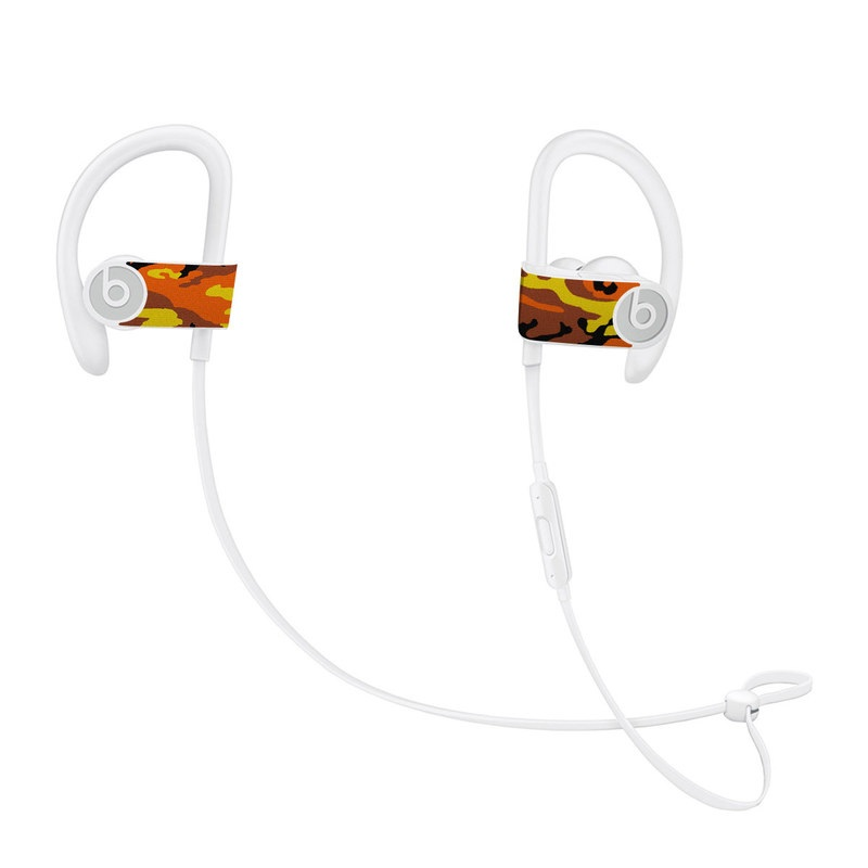 Beats Powerbeats3 Skin design of Military camouflage, Orange, Pattern, Camouflage, Yellow, Brown, Uniform, Design, Tree, Wildlife with red, green, black colors