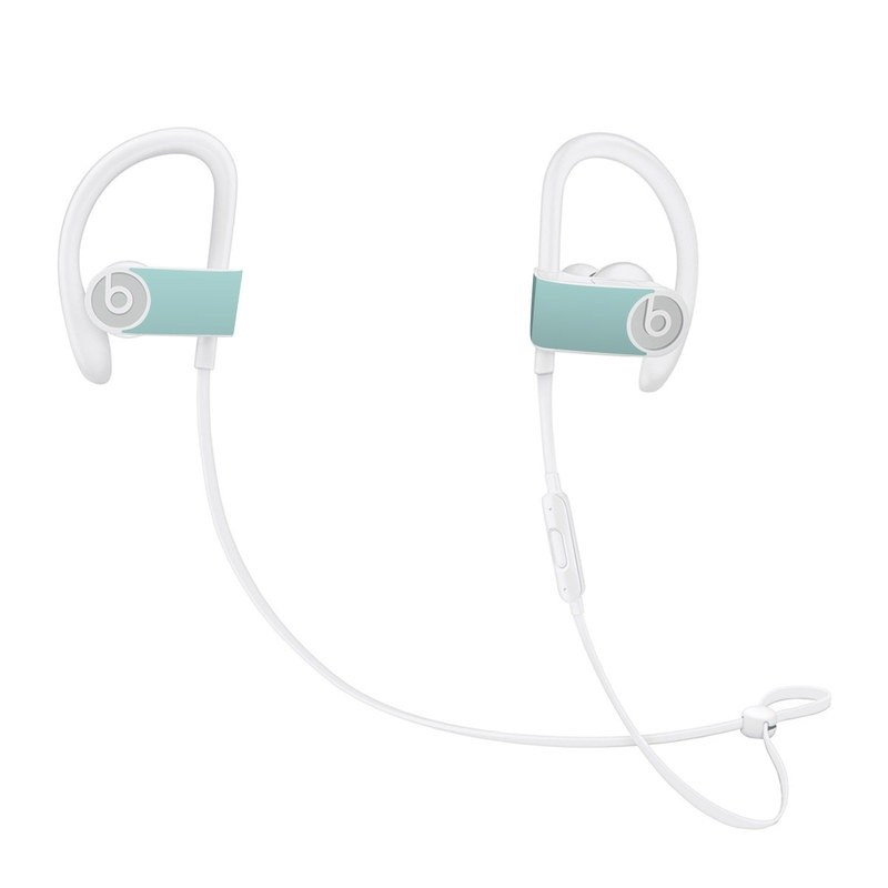 Beats Powerbeats3 Skin design of Green, Blue, Aqua, Turquoise, Teal, Azure, Text, Daytime, Yellow, Sky with blue colors