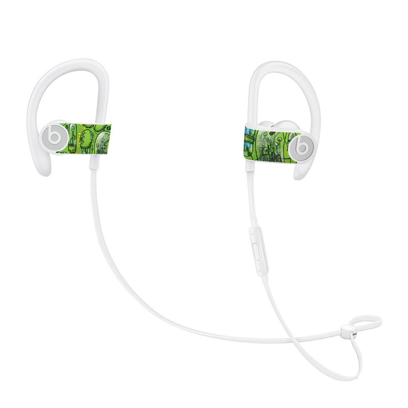 Beats Powerbeats3 Skin design of Green, Pattern, Yellow, Design, Illustration, Plant, Art, Graphic design, Urban design with green, blue, gray, yellow, orange colors