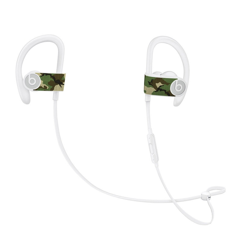 Beats Powerbeats3 Skin design of Military camouflage, Camouflage, Clothing, Pattern, Green, Uniform, Military uniform, Design, Sportswear, Plane with black, gray, green colors