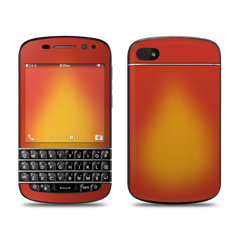 BlackBerry Q10 Skin design of Red, Orange, Yellow, Green, Amber, Sky, Peach, Colorfulness with orange, yellow colors