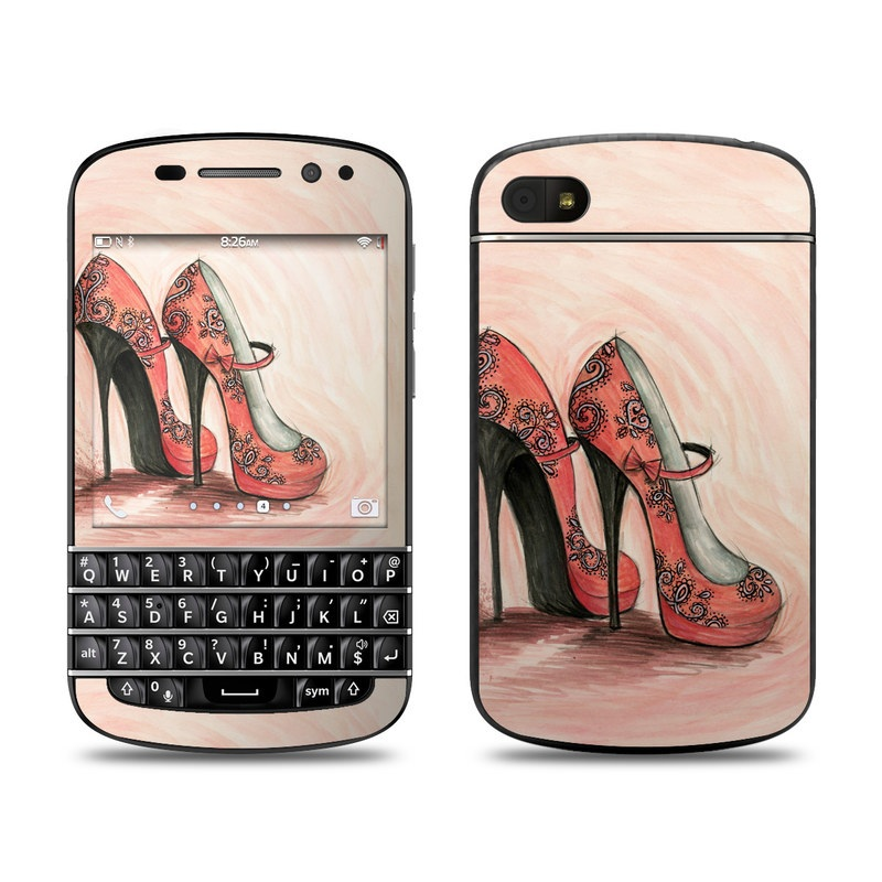 BlackBerry Q10 Skin design of Footwear, High heels, Shoe, Pink, Court shoe, Illustration, Leg, Basic pump, Peach, Painting with pink, gray, red, white, black, green colors