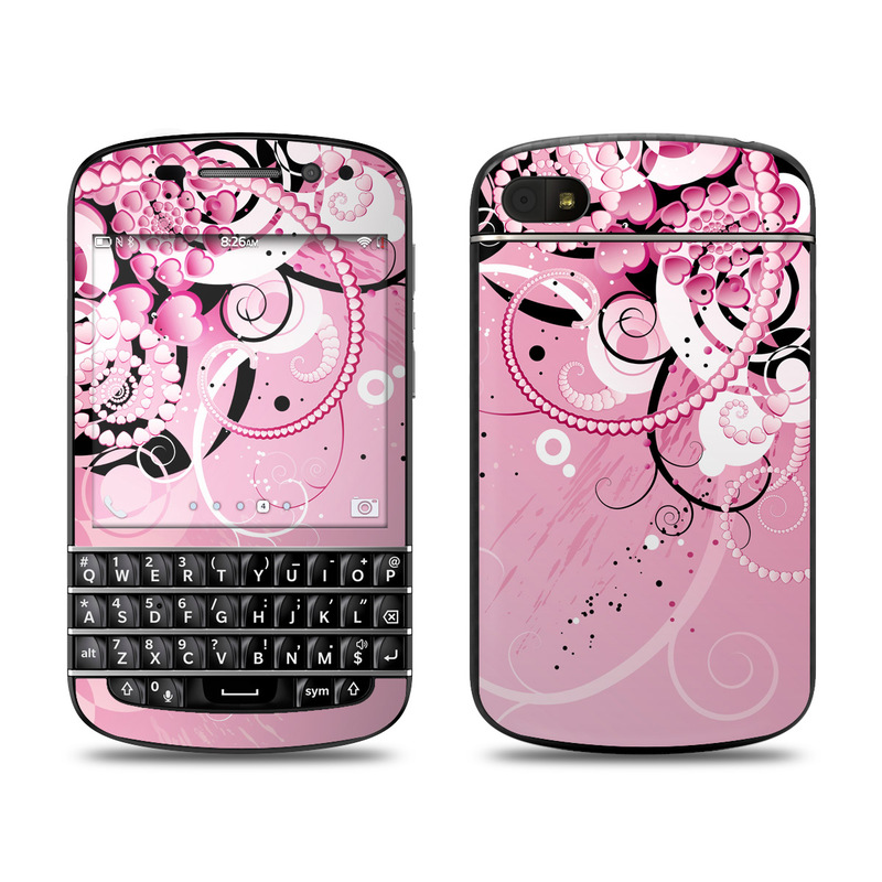 BlackBerry Q10 Skin design of Pink, Floral design, Graphic design, Text, Design, Flower Arranging, Pattern, Illustration, Flower, Floristry with pink, gray, black, white, purple, red colors