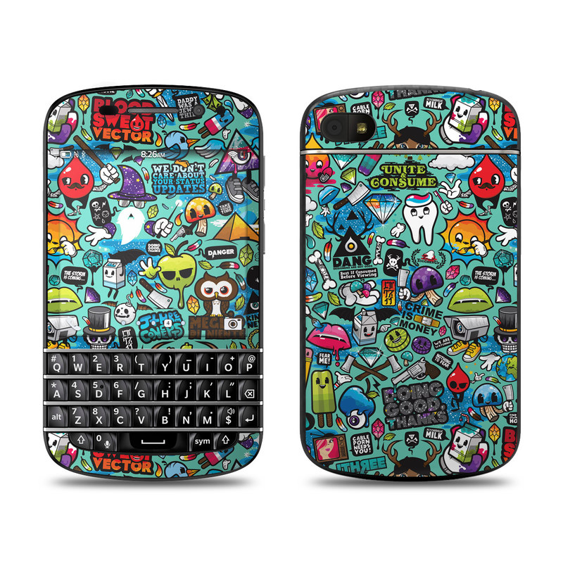 BlackBerry Q10 Skin design of Cartoon, Art, Pattern, Design, Illustration, Visual arts, Doodle, Psychedelic art with black, blue, gray, red, green colors
