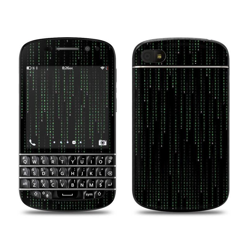 BlackBerry Q10 Skin design of Green, Black, Pattern, Symmetry with black colors