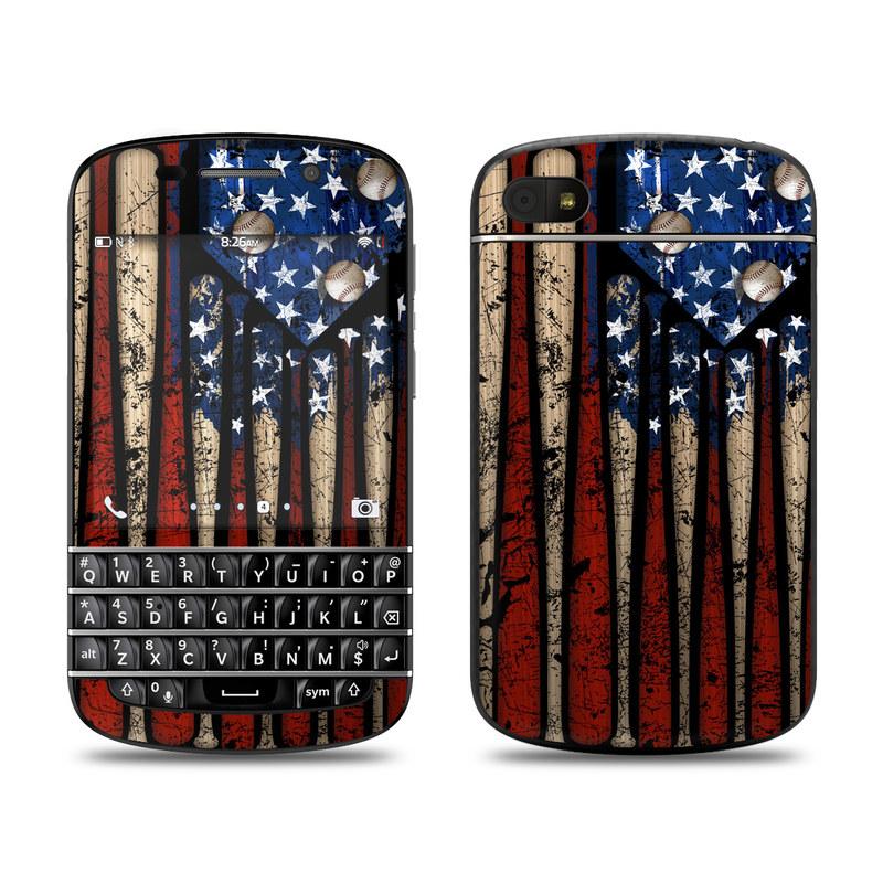 BlackBerry Q10 Skin design of Baseball bat, Baseball equipment with black, red, gray, green, blue colors