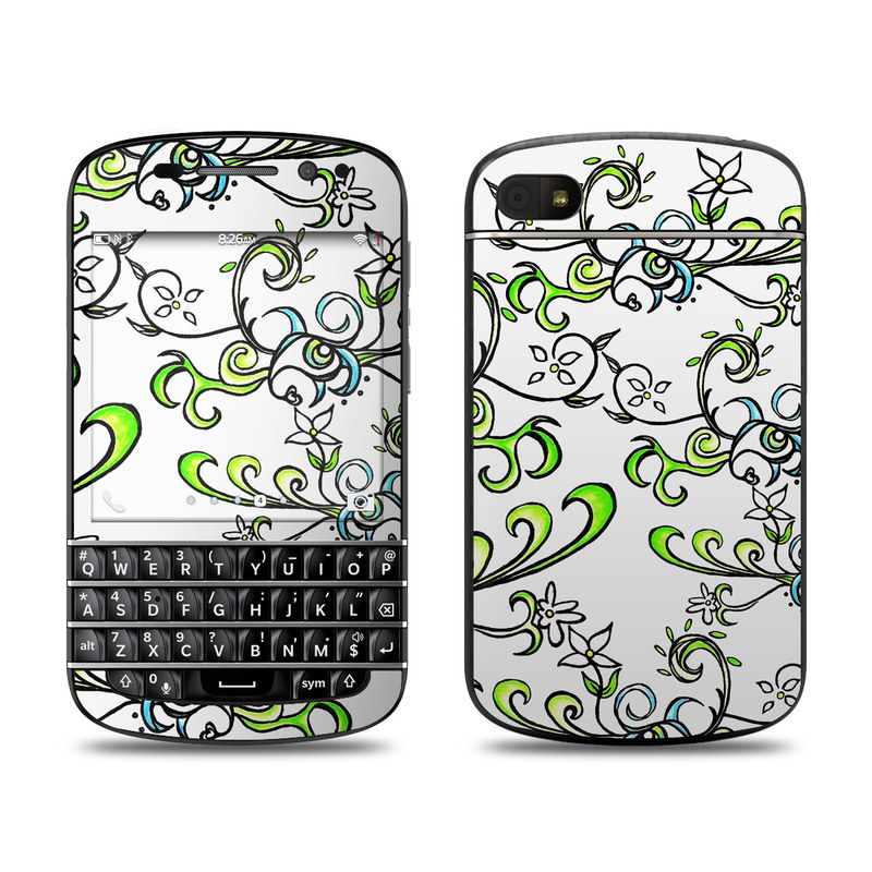BlackBerry Q10 Skin design of Pattern, Floral design, Leaf, Botany, Pedicel, Design, Line art, Clip art, Visual arts, Plant with white, gray, black, green colors