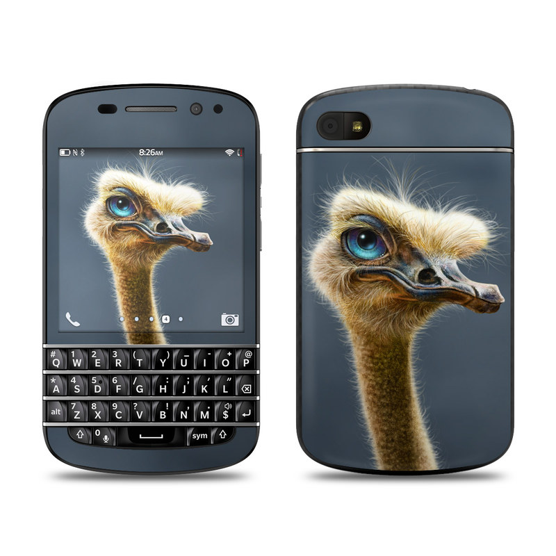 BlackBerry Q10 Skin design of Ostrich, Flightless bird, Ratite, Bird, Beak, Close-up, Emu, Wildlife, Organism, Terrestrial animal with black, gray, blue, green, red colors