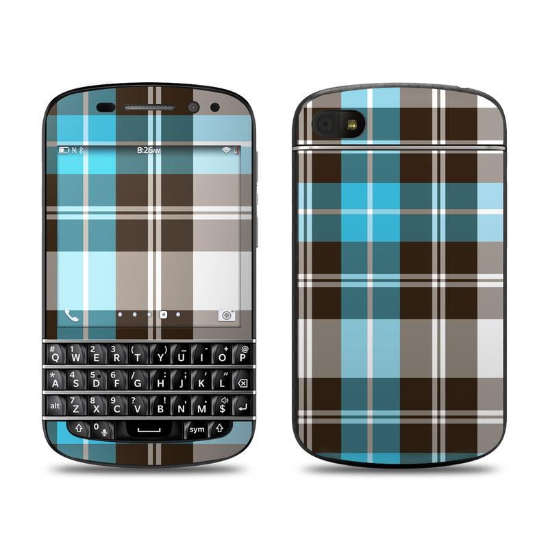 Turquoise Plaid BlackBerry Q10 Skin