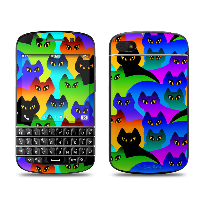 BlackBerry Q10 Skin design of Black cat, Purple, Cat, Small to medium-sized cats, Pattern, Design, Felidae, Illustration, Art with black, blue, green, purple colors