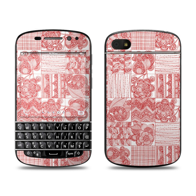 BlackBerry Q10 Skin design of Pattern, Line, Pink, Design, Textile, Wrapping paper, Visual arts, Line art, Paper with red, white colors