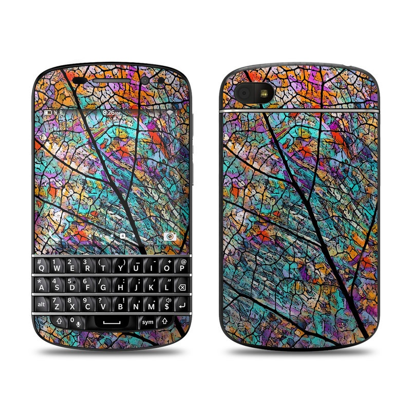 BlackBerry Q10 Skin design of Pattern, Colorfulness, Line, Branch, Tree, Leaf, Design, Visual arts, Glass, Plant with black, gray, red, blue, green colors