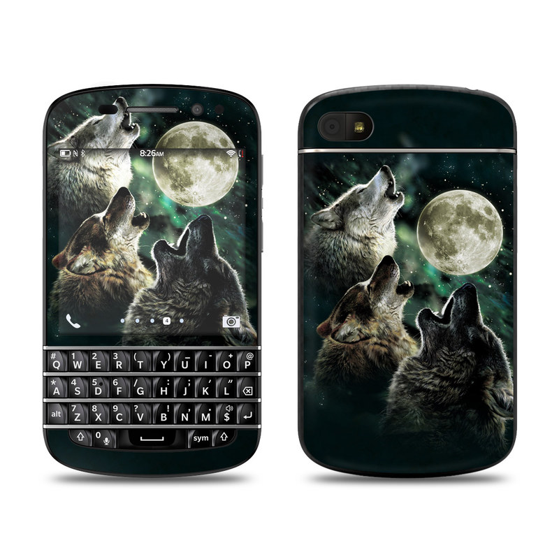BlackBerry Q10 Skin design of Wolf, Light, Astronomical object, Moon, Wildlife, Organism, Moonlight, Sky, Atmosphere, Celestial event with black, gray, green colors