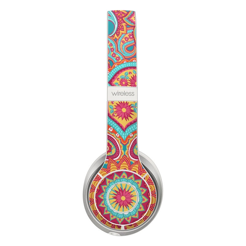 Beats Solo 2 Wireless Skin design of Pattern, Paisley, Motif, Visual arts, Design, Art, Textile, Psychedelic art with orange, yellow, blue, red colors