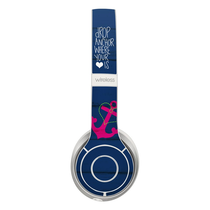 Beats Solo 2 Wireless Skin design of Font, Text, Love, Heart, Illustration, Anchor, Graphic design, Gesture with black, purple, gray, red, blue, white colors