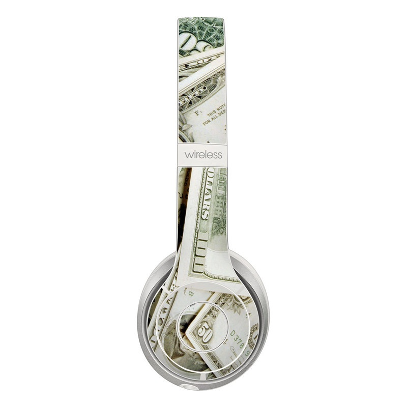 Beats Solo 3 Wireless Skin design of Money, Cash, Currency, Banknote, Dollar, Saving, Money handling, Paper, Stock photography, Paper product with green, white, black, gray colors