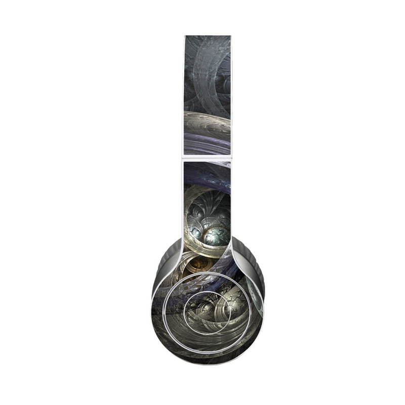 Beats Solo HD Skin design of Fractal art, Graphic design, Art, Cg artwork, Darkness, Circle, Pattern, Illustration, Graphics, Metal with black, gray, blue colors