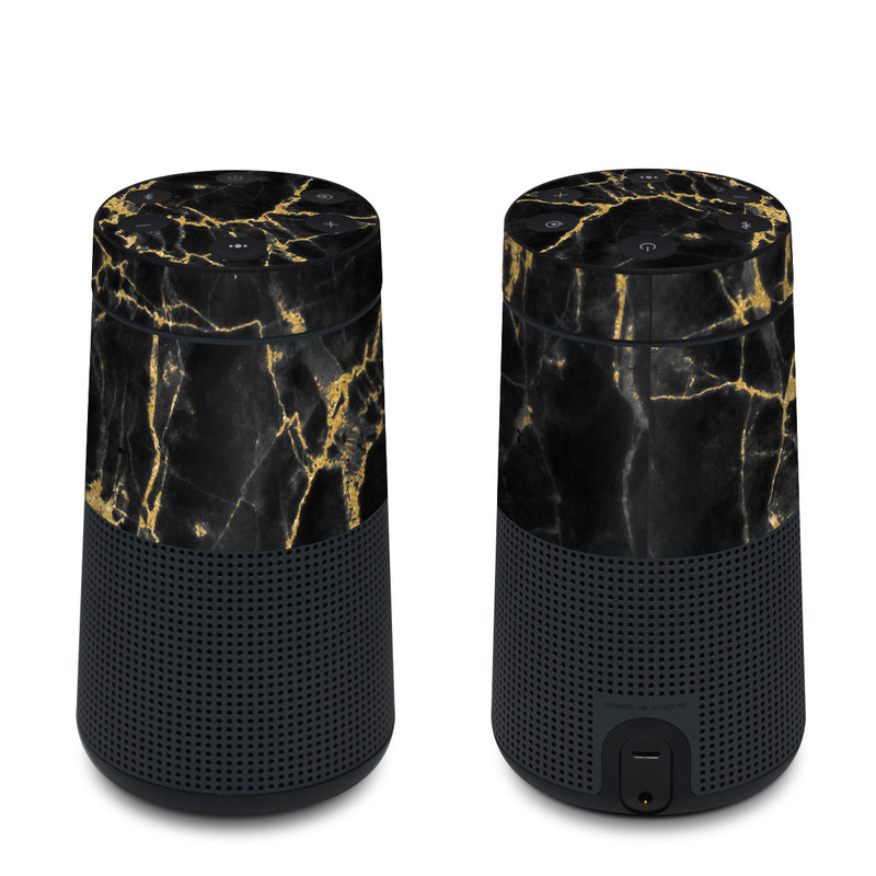 Bose SoundLink Revolve Skin design of Black, Yellow, Water, Brown, Branch, Leaf, Rock, Tree, Marble, Sky with black, yellow colors