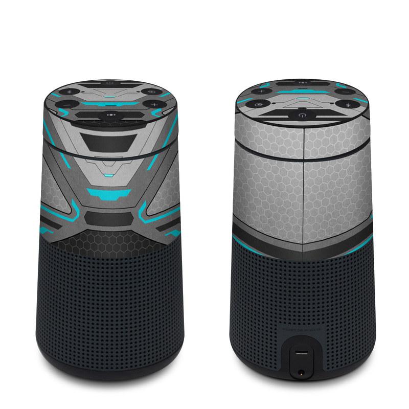 Bose SoundLink Revolve Skin design of Blue, Turquoise, Pattern, Teal, Symmetry, Design, Line, Automotive design, Font with black, gray, blue colors