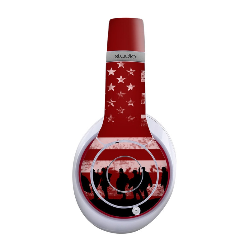 Beats Studio Wireless Skin design of Red, Flag, Font, Veterans day, Crowd, Illustration, Silhouette, Red flag with red, black, gray, pink colors