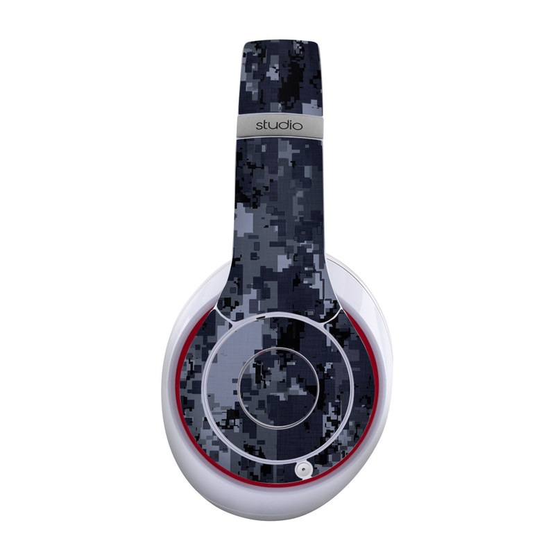 Beats Studio Wireless Skin design of Military camouflage, Black, Pattern, Blue, Camouflage, Design, Uniform, Textile, Black-and-white, Space with black, gray, blue colors